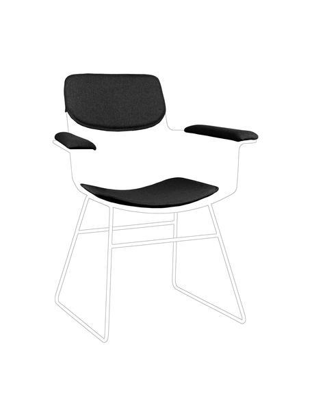 Set 3 cuscini per sedia in metallo Wire, Rivestimento: 60% cotone, 40% poliester, Grigio scuro, Set in varie misure