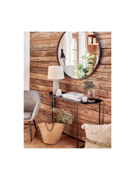 Lámpara de mesa grande de cemento Kaya, Pantalla: 70%algodón, 30%lino, Cable: cubierto en tela, Beige, Ø 29 x Al 52 cm