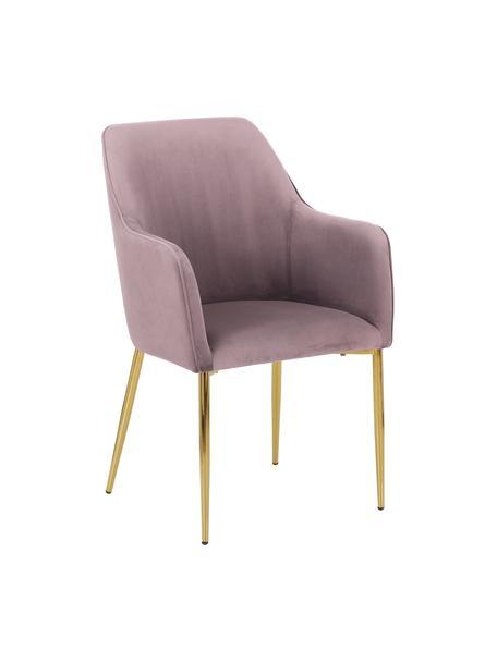 Krzesło z podłokietnikami  z aksamitu Ava, Tapicerka: aksamit (100% poliester) , Nogi: metal galwanizowany, Aksamitny mauve, S 57 x G 63 cm