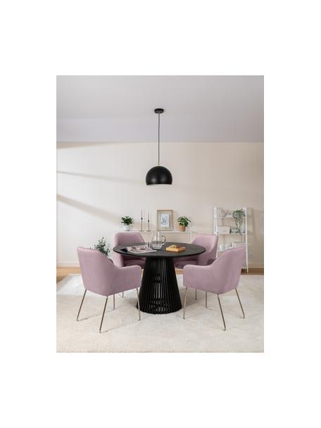 Krzesło z podłokietnikami  z aksamitu Ava, Tapicerka: aksamit (100% poliester) , Nogi: metal galwanizowany, Aksamitny mauve, nogi: złoty, S 57 x G 63 cm
