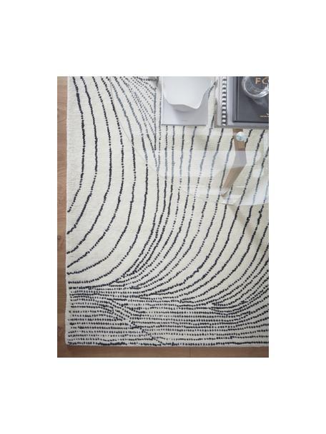 Tappeto in lana tessuto a mano con motivo a onde Waverly, 100% lana Nel caso dei tappeti di lana, le fibre possono staccarsi nelle prime settimane di utilizzo, questo e la formazione di lanugine si riducono con l'uso quotidiano, Bianco, nero, Larg. 160 x Lung. 230 cm (taglia M)