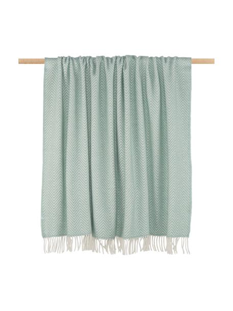 Coperta in lana con motivo spina di pesce Aubrey, 80% lana merino, 20% nylon, Verde menta, Larg. 140 x Lung. 200 cm