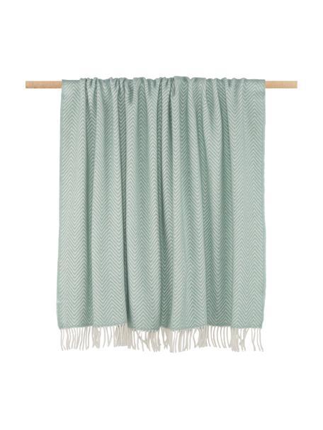 Manta de lana de merino Aubrey, 80%lana merino, 20%nylon, Menta, blanco crudo, An 140 x L 186 cm