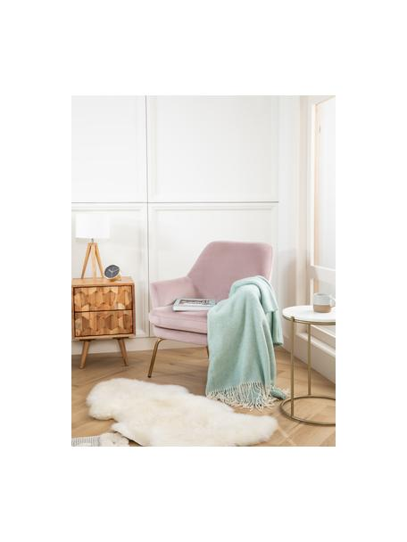 Plaid in lana merino con motivo a zigzag Aubrey, 80% lana merino, 20% nylon, Verde menta, bianco latte, Larg. 140 x Lung. 200 cm