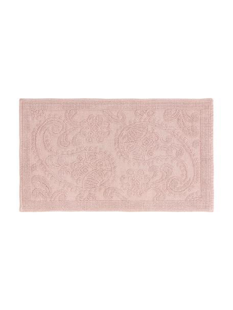 Badmat Kaya in roze met bloemenpatroon, 100% katoen, Roze, 50 x 80 cm