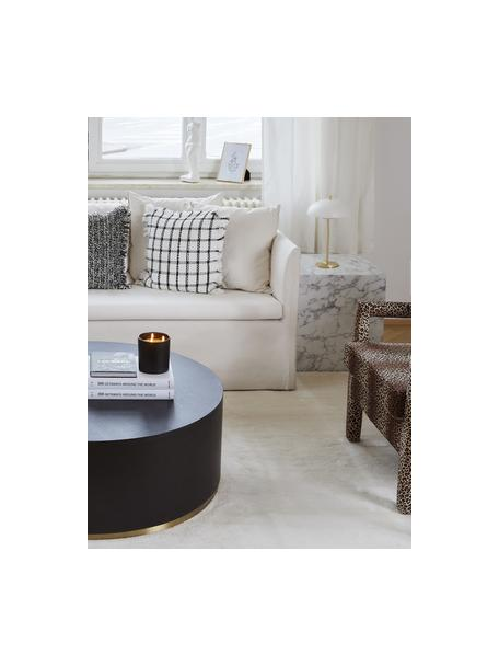 Scandi tafellamp Mathea, Lampenkap: gepoedercoat metaal, Lampvoet: vermessingd metaal, Wit, messingkleurig, Ø 23 x H 36 cm