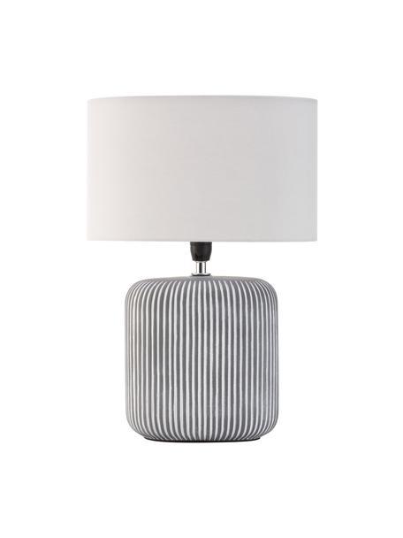 Gestreifte Keramik-Nachttischlampe Pure Shine, Lampenschirm: Stoff, Lampenfuß: Keramik, Weiß, Grau, Schwarz, Ø 27 x H 38 cm