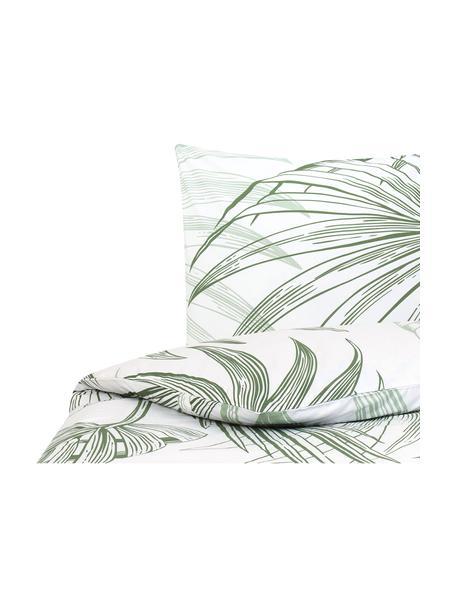 Baumwoll-Bettwäsche Alessa mit Blätterprint, Webart: Renforcé Fadendichte 144 , Weiss, Hellgrün, Dunkelgrün, 135 x 200 cm + 1 Kissen 80 x 80 cm