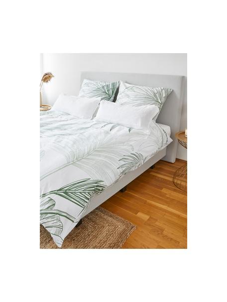 Pościel z bawełny Alessa, Biały, jasny zielony, ciemny zielony, 135 x 200 cm + 1 poduszka 80 x 80 cm