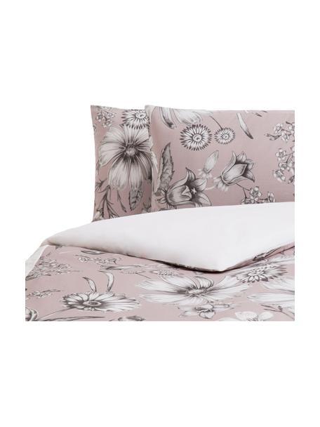 Parure copripiumino in cotone Field, Cotone, Fronte: rosa cipria, grigio, bianco Retro: bianco, 250 x 200 cm