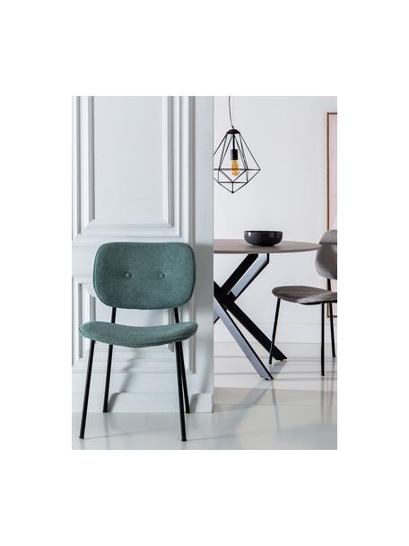 Silla tapizada Oprah, Tapizado: 100%poliéster, Patas: metal recubierto, Turquesa, negro, An 56 x F 52 cm