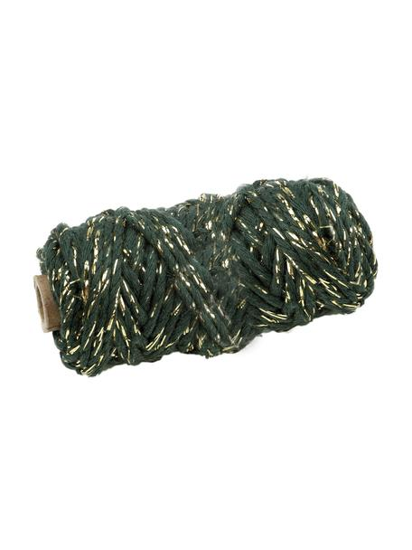 Corda regalo con filo lurex Twist, Cotone con filo lurex, Verde, dorato, Lung. 25 m