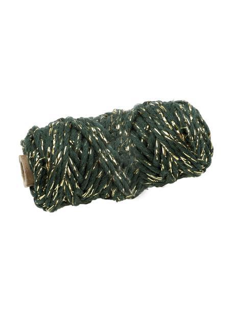 Sznurek na prezenty Twist, Bawełna z nićmi lateksowymi, Zielony, odcienie złotego, D 25 m