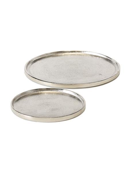 Decoratieve dienbladenset Valomi, 2-delig, Aluminium, Aluminiumkleurig, Verschillende formaten