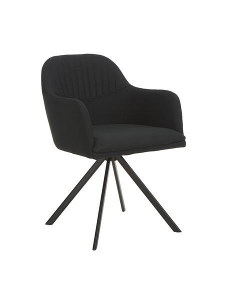 Beklede draaistoel Lola met armleuning in zwart, Bekleding: polyester, Poten: gepoedercoat metaal, Geweven stof zwart, poten zwart, B 55 x D 52 cm