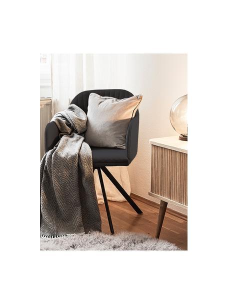 Silla giratoria con reposabrazos tapizada Lola, Tapizado: poliéster, Patas: metal con pintura en polv, Tejido negro, patas negro, An 55 x F 52 cm
