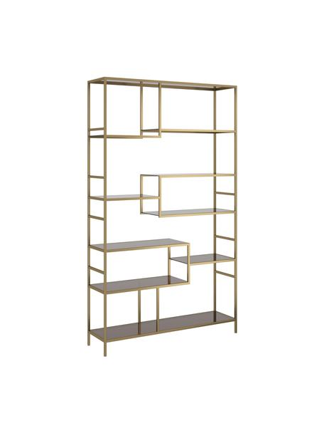 Estantería de metal Loft, Estructura: metal con pintura en polv, Estantería: vidrio laminado tintado, Latón, An 115 x Al 195 cm