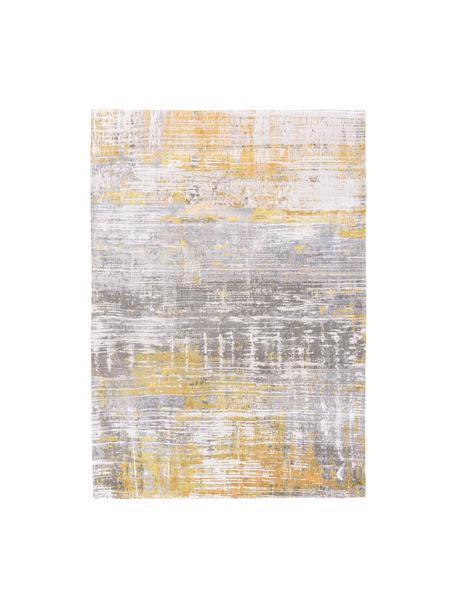Designteppich Streaks in Grau/Gelb, Flor: 85%Baumwolle, 15%hochgl, Webart: Jacquard, Gelb, Grau, Weiß, B 200 x L 280 cm (Größe L)