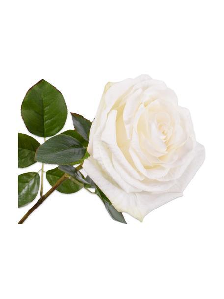 Rose artificiali, bianche, 2 pz, Materiale sintetico, filo metallico, Bianco, Lunghezza 68 cm