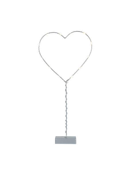 Dekoracja świetlna LED zasilana na baterie Heart, Szary, S 20 x W 43 cm