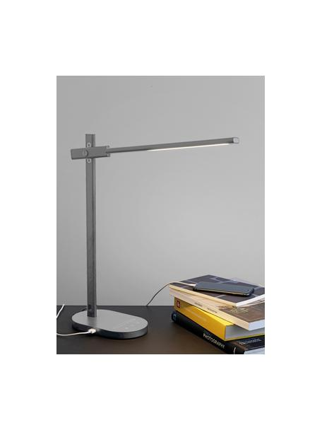 Tafellamp Office, Lampvoet: gecoat aluminium, Diffuser: kunststof, Grijs, 20 x 48 cm