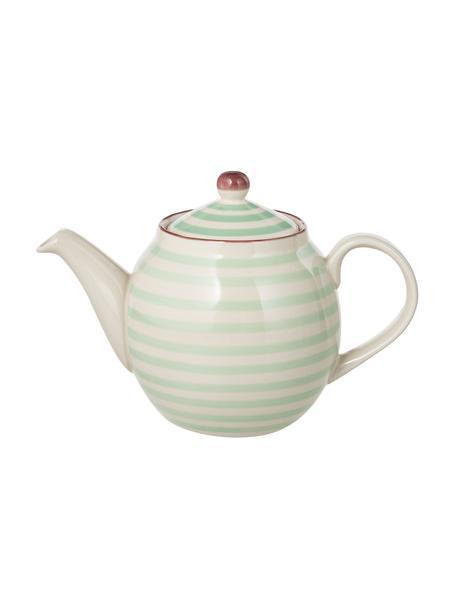 Handbemalte Teekanne Patrizia mit verspieltem Muster, 1.2 L, Steingut, Außen: Grün, Creme, Violett Innen: Creme, 1.2 L