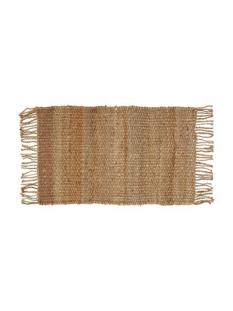 Handgemaakte juten deurmat Naturals met franjes, 100% jute, Beige, 45 x 75 cm