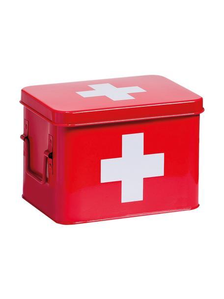 Caja Medizina, Metal recubierto, Rojo, blanco, An 23 x Al 16 cm