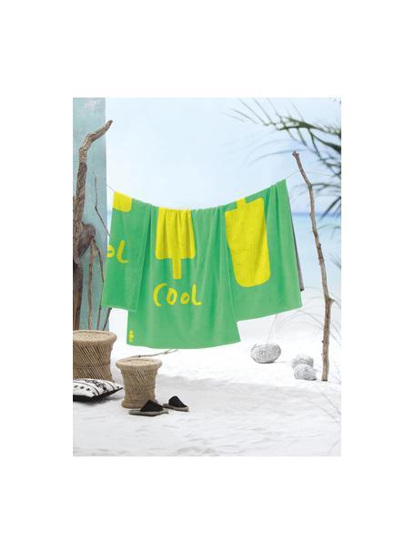 Toalla de playa Popsicle, Verde, amarillo, An 100 x L 180 cm