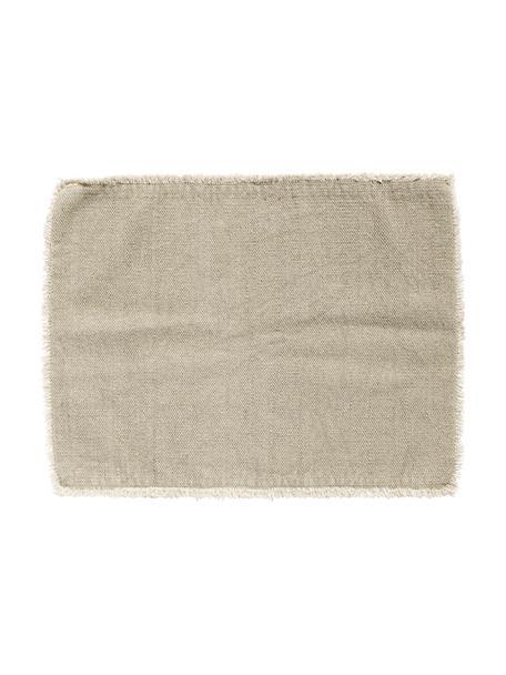 Baumwoll-Tischsets Edge, 6 Stück, Baumwollgemisch, stonewashed, Greige, 35 x 48 cm