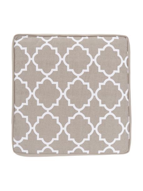Hohes Sitzkissen Lana in Taupe/Weiß, Bezug: 100% Baumwolle, Beige, 40 x 40 cm
