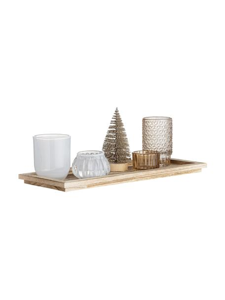 Windlichtenset Otine, 6-delig, Glas, Goudkleurig, beige, wit, Set met verschillende formaten