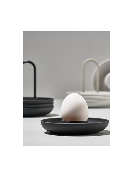 Soporte de huevo Henk, 4 uds., Silicona, metal, recubierto, Negro, Ø 11 cm