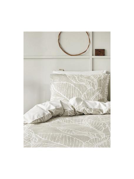 Pościel z bawełny Leaves & Trees, Beżowy, biały, 135 x 200 cm