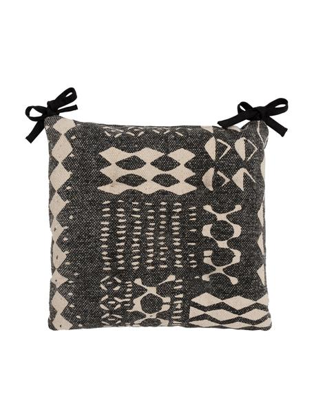 Boho stoelkussenBoa, 100% katoen, Zwart, wit, 40 x 4 cm