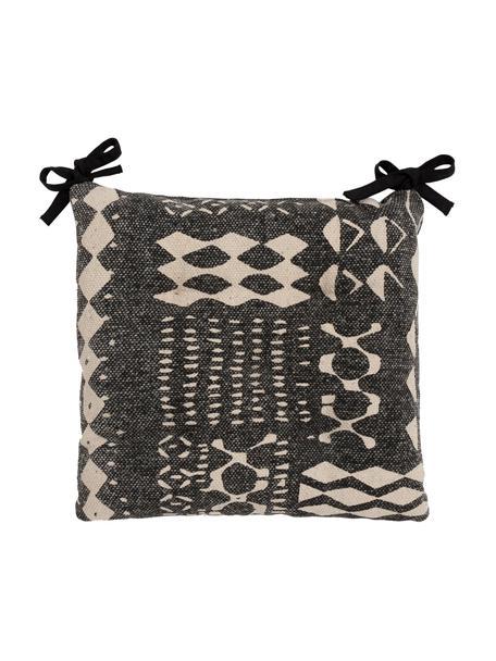 Cojín de asientoBoa, estilo boho, 100%algodón, Negro, blanco, An 40 x Al 4 cm