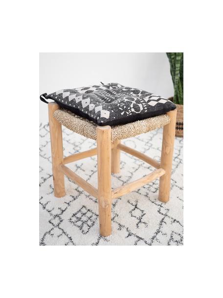 Cuscino sediaboho Boa, 100% cotone, Nero, bianco, Larg. 40 x Alt. 4 cm