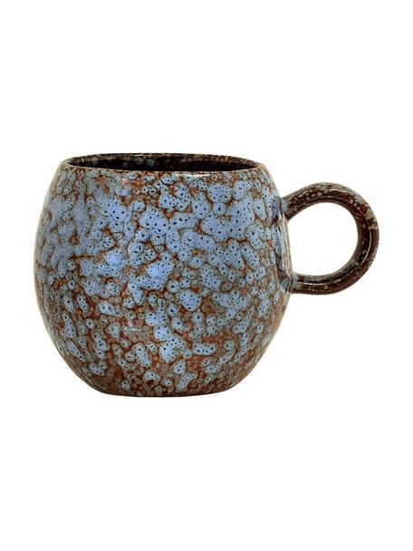 Handgemaakt kopje Paula met effectief glazuur, Keramiek, Blauw, bruin, Ø 9 x H 8 cm