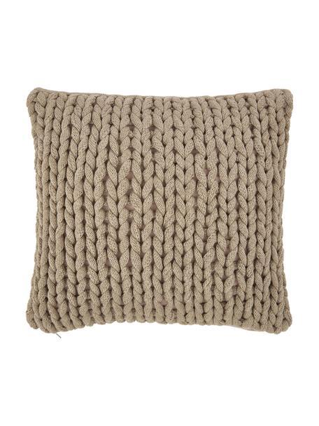 Federa arredo a maglia grossa fatta a mano Adyna, 100% poliacrilico, Beige, Larg. 45 x Lung. 45 cm