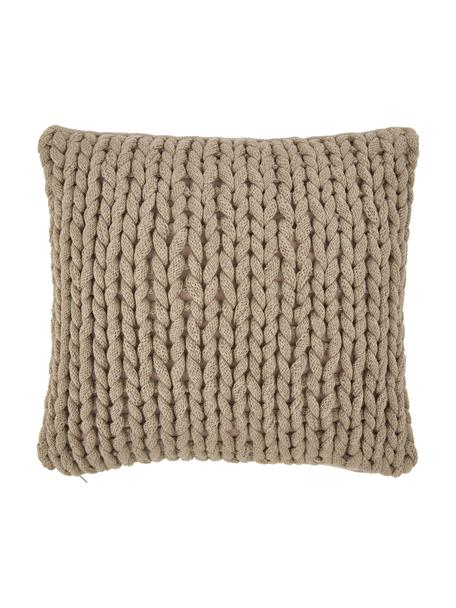 Ręcznie wykonana poszewka na poduszkę z grubej dzianiny Adyna, 100% poliakryl, Beżowy, S 45 x D 45 cm