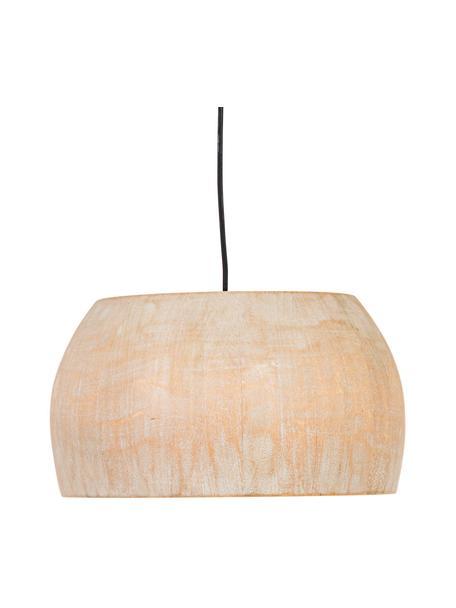 Skandi-Pendelleuchte Solid aus Paulowniaholz, Lampenschirm: Paulowniaholz, Baldachin: Metall, beschichtet, Beige, Ø 38 x H 23 cm