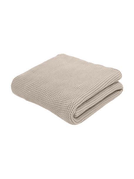 Plaid fatto a maglia in cotone biologico beige Adalyn, 100% cotone biologico, certificato GOTS, Beige, Larg. 150 x Lung. 200 cm
