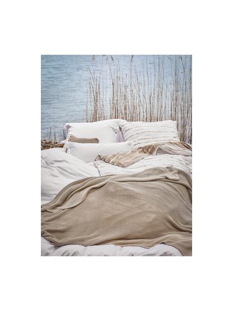 Dzianinowy koc z bawełny organicznej  Adalyn, 100% bawełna organiczna, certyfikat GOTS, Beżowy, S 150 x D 200 cm