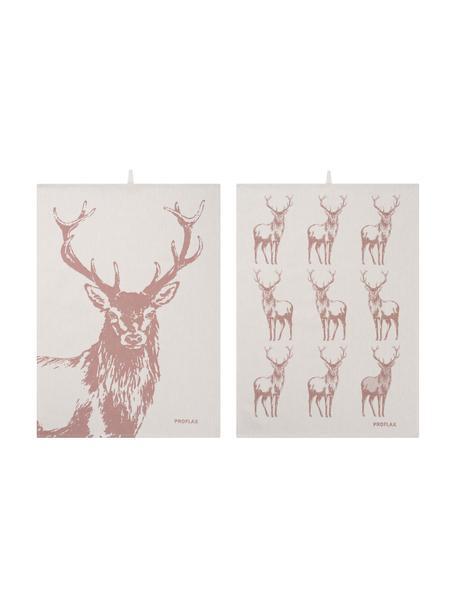 Set 2 strofinacci con motivo cervo Hjort, 100% cotone, Marrone noce, beige, Larg. 50 x Lung. 70 cm