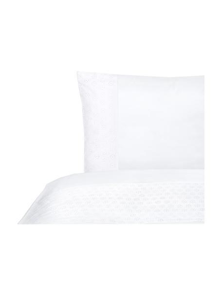 Baumwollperkal-Bettwäsche Toulouse mit Lochspitze, Webart: Perkal Fadendichte 200 TC, Weiß, 135 x 200 cm + 1 Kissen 80 x 80 cm
