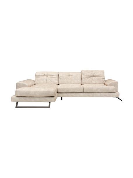 Sofa narożna Frido (4-osobowa), Tapicerka: 100% poliester, Stelaż: drewno brzozowe, płyta wi, Nogi: metal powlekany, Beżowy, S 308 x G 190 cm