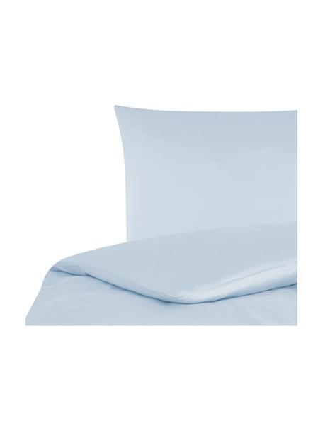 Pościel z satyny bawełnianej Comfort, Jasny niebieski, 155 x 220 cm + 1 poduszka 80 x 80 cm