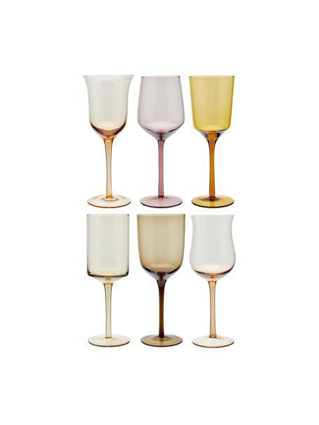 Copas grandes de vino de vidrio soplado artesanlamente Desigual, 6uds., Vidrio soplado artesanalmente, Marrón, tonos rosas, verde, amarillo, lila, Ø 7 cm