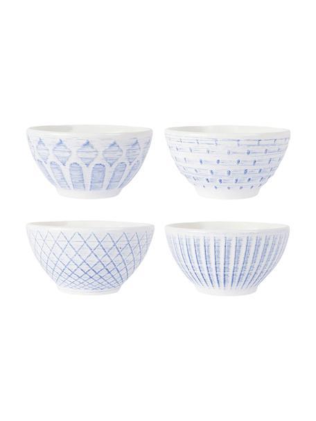 Steingut-Schälchen Tartine in Weiss/Blau, 4 Stück, Steingut, Blau, Weiss, Ø 20 x H 17 cm