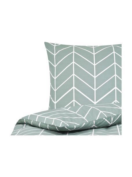 Pościel z bawełny renforcé Mirja, Zielony, kremowobiały, 135 x 200 cm + 1 poduszka 80 x 80 cm